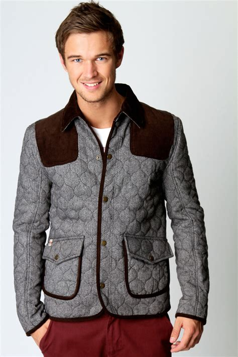 quilted jacket mens cord patch quilted jacket grey grey shopping