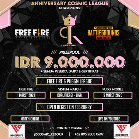 The game consists of up to 50 players falling from a parachute on an island in search of weapons and equipment in order to dominate the task. Cosmic Anniversary League - PUBGM Tournament - INDOESPORTS