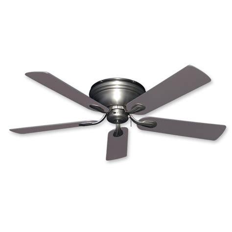 Flush Mount Ceiling Fan  52 Inch Stratus In Satin Steel