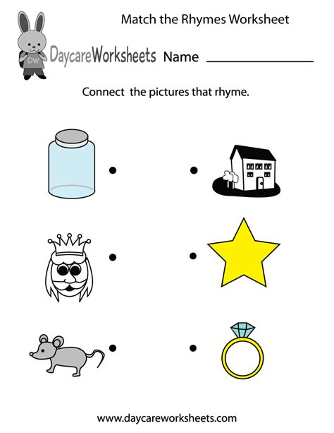 match  rhymes worksheet  preschool