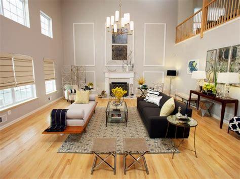Painting Living Room High Ceilings by Modern Gray Living Room With High Ceiling And Fireplace Hgtv