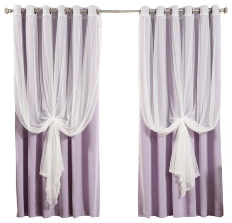 wide width tulle sheer lace blackout 2 curtain set