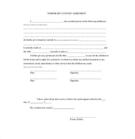 notarized custody agreement template custody agreement template free templates resume exles 8ma63dgg2q