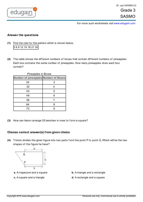 grade  sasmo printable worksheets  practice