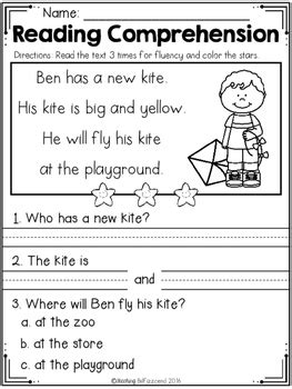 free kindergarten reading comprehension edition tpt