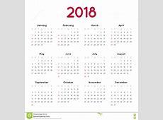 Calendario Del Vector Para 2018 Ilustración del Vector
