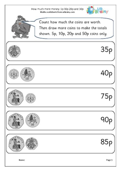 how much more money 5p 10p 20p 50p money maths worksheets for year 2 age 6 7
