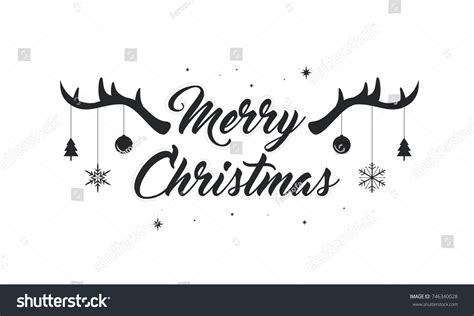 merry christmas text vector illustration lettering stock