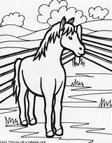Coloring Farm Pages Horse Colouring Activities Hay Eating Crafts Diy sketch template