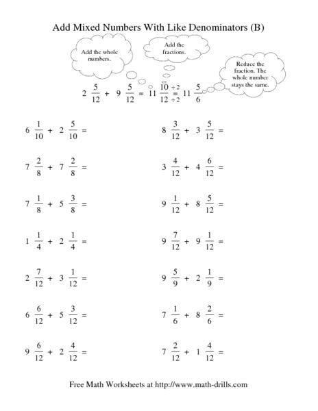 add and subtract mixed numbers worksheet modeling