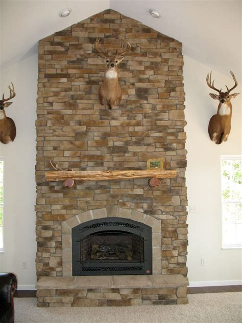 Rustic Stack Stone Fireplaces For Lodge