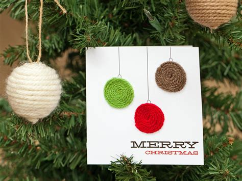 Outdoor Christmas Decorating Ideas Front Porch by Yarn Embellished Holiday Ornament Card Hgtv