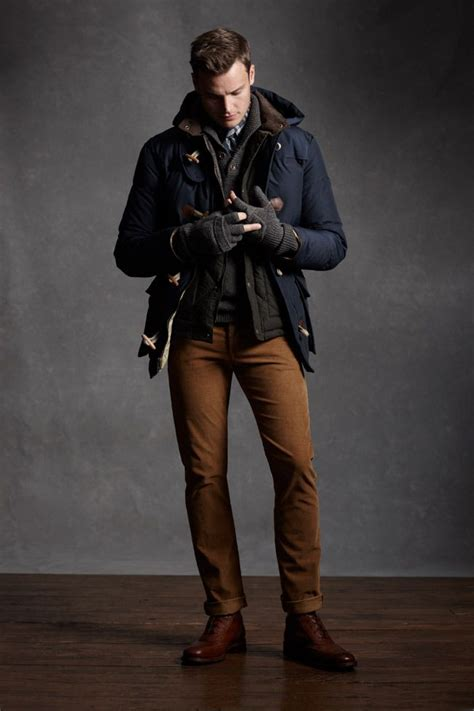 Layered mens winter/fall look navy coat black quilted jacket grey sweater grey gloves brown ...