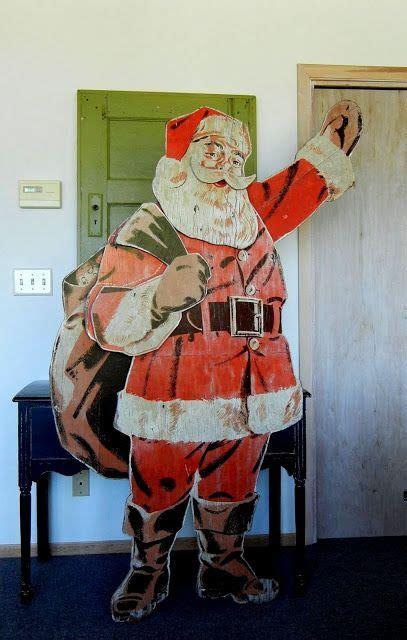 big  wooden santa store display vintage christmas