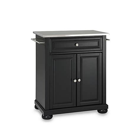 stainless steel portable kitchen island buy crosley alexandria stainless steel top portable kitchen island in black from bed bath beyond
