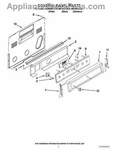 Parts For Maytag Mer8880as0  Control Panel Parts
