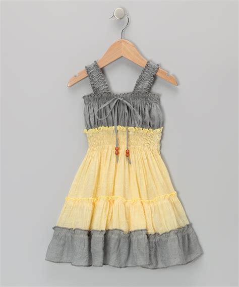 Lele for Kids Gray u0026 Yellow Country Peasant Dress - Toddler u0026 Girls | Grey yellow Toddler girls ...