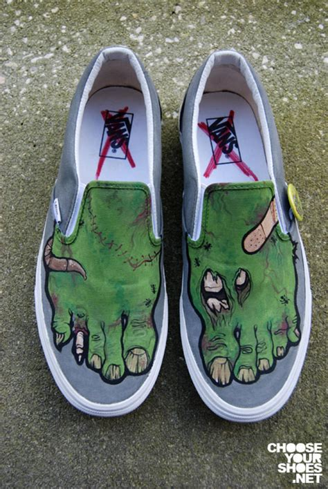 shoes zombie painted hand vans custom slip cool shoe designs paint feet awesome sneakers diy zombies things boys amazing fun
