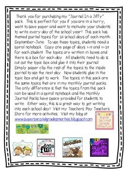 grade journal writing prompts  sharon strickland