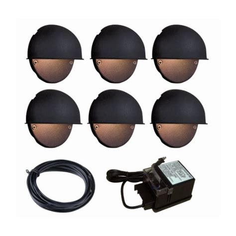 6 light black low voltage deck light kit garden design