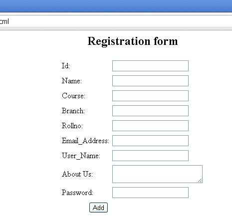 html code for registration form