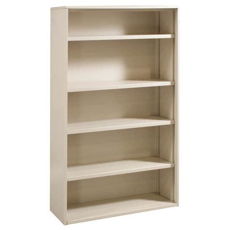 Metal Used 5 Shelf 63 Inch Bookcase, Light Putty