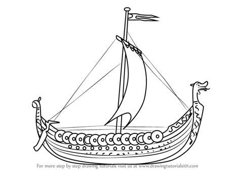 Boat Drawing Pictures by Learn How To Draw A Viking Ship Boats And Ships Step By