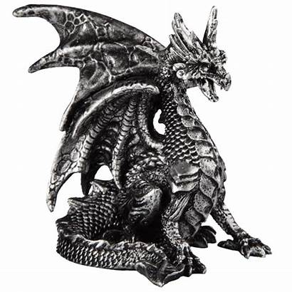 Dragon Statue Silver Seated Medieval Collectibles