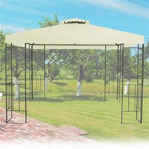 Gartenpavillon Metall Mit Festem Dach : pavillon 3x3m metall gartenpavillon festzelt dach zelt garten beige ebay ~ Bigdaddyawards.com Haus und Dekorationen