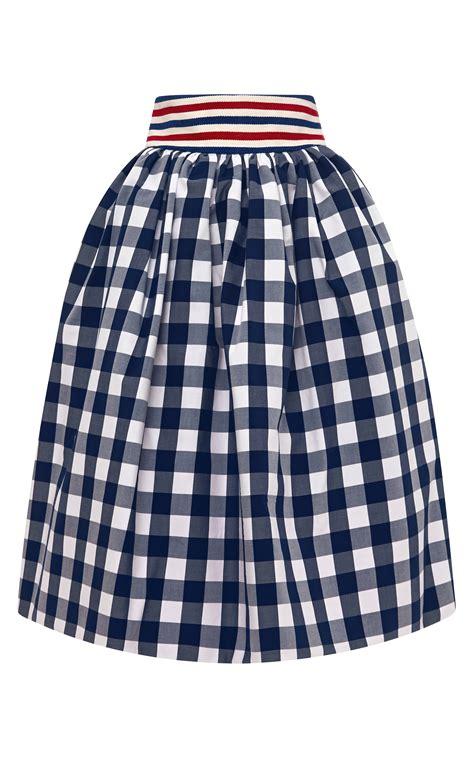 stella jean primula gingham skirt  blue navy white