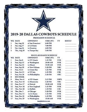 printable   dallas cowboys schedule