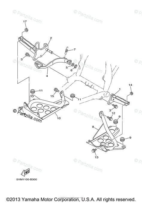 yamaha atv 2003 oem parts diagram for stand footrest partzilla
