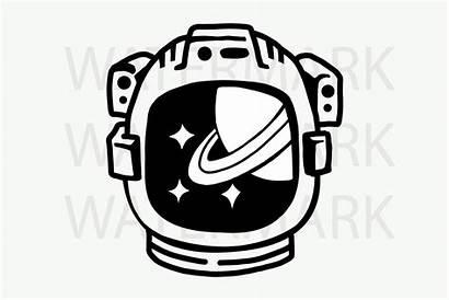 Astronaut Helmet Drawing Saturn Svg Hand Stars