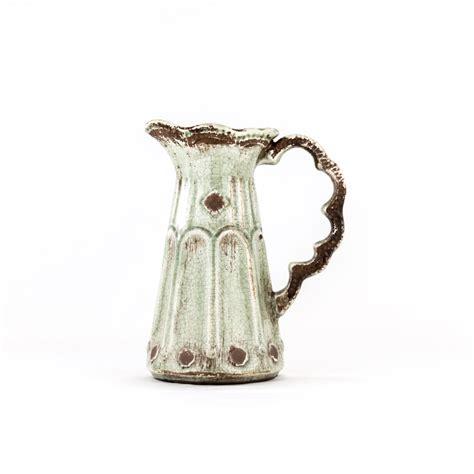 small sage pottery pitcher decorative distressed ceramic