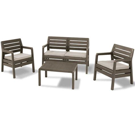 keter delano cappuccino resin sofa lounge set on sale