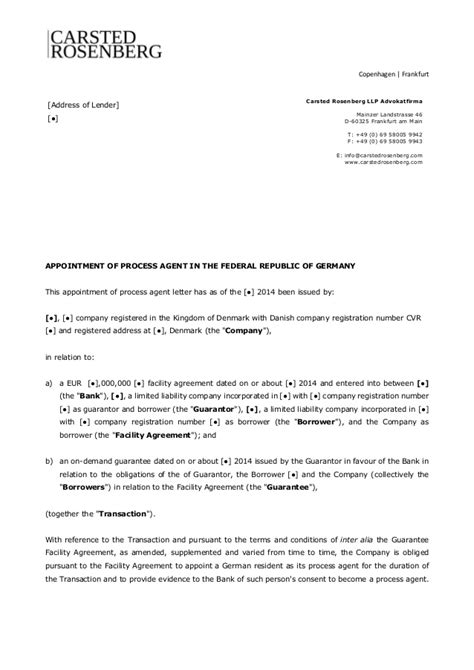 Template Appointment of Process Agent in Germany - Carsted