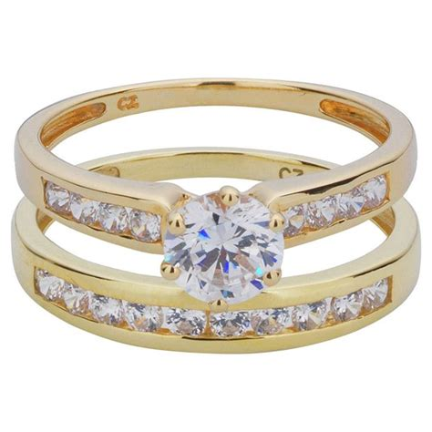 buy ct gold  piece cubic zirconia bridal ring set