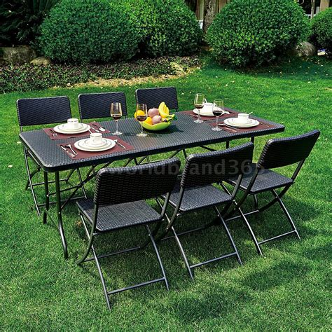 7 Piece Patio Garden Lawn Furniture Dining Table Chair
