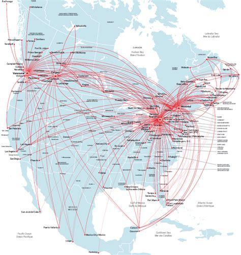 air canada route map north america
