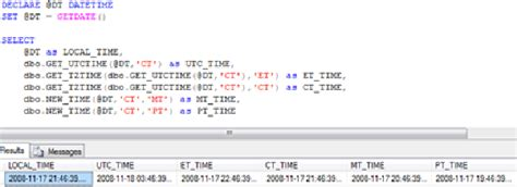 sql time zone conversion functions codeproject