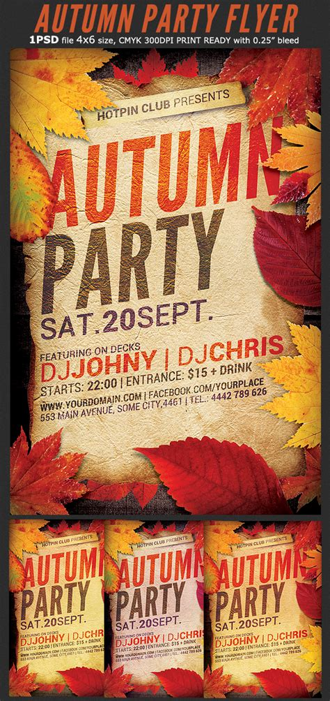 autumn party flyer template flyerstemplates