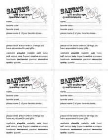 secret santa gift exchange forms secret santa questionnaire templates http www docstoc com