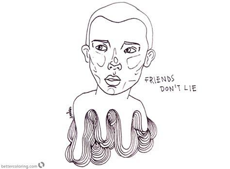stranger  coloring pages eleven friends dont lie