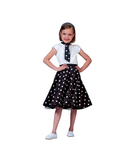 Black Sock Hop Kids Costume - Girls Polka Dots Costumes