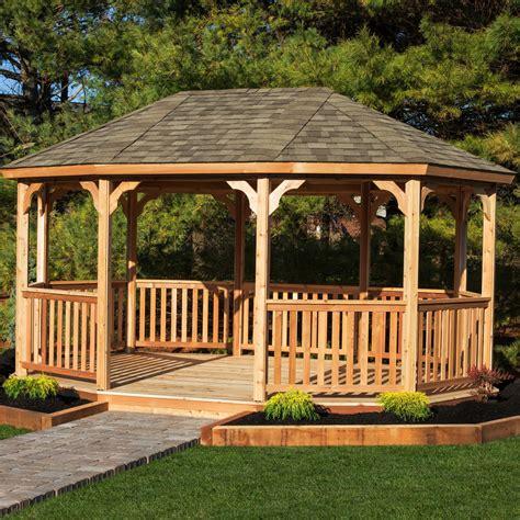 outdoor wooden gazebo yardcraft oval 18 ft w x 12 ft d cedar permanent gazebo wayfair