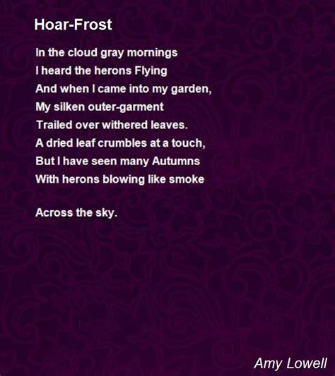 hoar frost poem  amy lowell poem hunter