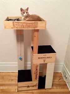 Arbre à Chat Fait Maison : diy arbre chats fait avec des caisse de vin systeme d pinterest chat diy arbre chat ~ Melissatoandfro.com Idées de Décoration