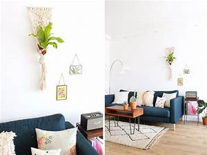 Suspension Macramé Ikea : d coration de salon modern style canap ik a bleu fonc ~ Zukunftsfamilie.com Idées de Décoration