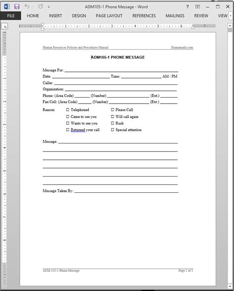 message template for word phone message template cyberuse
