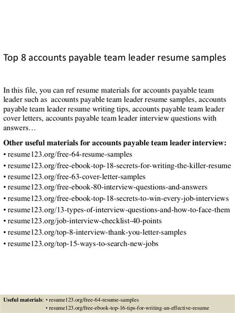 Team Leader Resume Format India by Top 8 Accounts Payable Team Leader Resume Sles